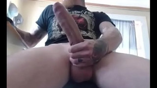 Tattooed Guy With Immense Dick On WebCam
