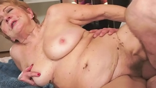 Hairy grandma with saggy boobs gets fucked