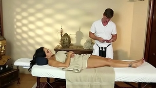 Stunning MILF throated on the massage table