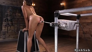 Latin goddess squirts on fucking machine